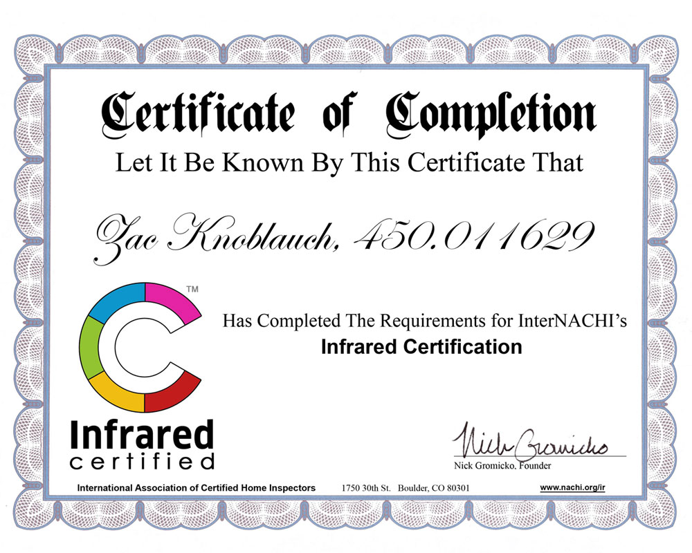 Certificate of Completion Infrared